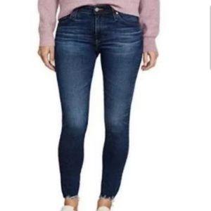 AG Skinny Legging Frayed Ankle Jeans Size 27 Blue